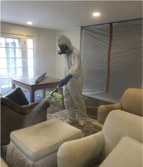 professional providing disinfection services in Tyrone